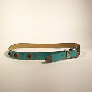 Thin Turquoise Leather Belt with Rhinestones, SM
